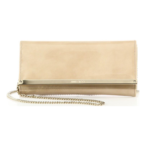 JIMMY CHOO milla patent leather & suede clutch - A sleek design in glossy patent leather, this