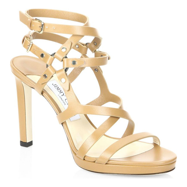 JIMMY CHOO monica leather sandals - Caged leather sandal with studded harness-style straps....