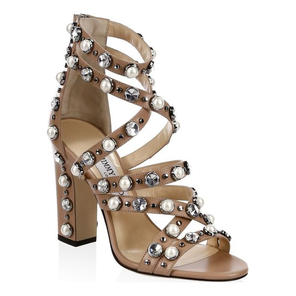 "JIMMY CHOO moore beaded sandals - Block heel, 4"" (100mm).Leather upper. Open toe. Back zip..."