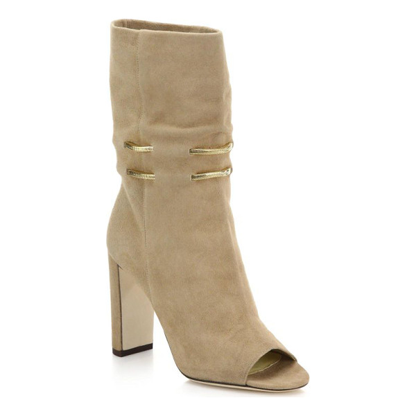 JIMMY CHOO Mysen suede open-toe booties - A 70's-inspired sandal bootie crafted in a relaxed, slouchy...