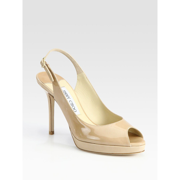 JIMMY CHOO nova 100 patent leather slingbacks - From the 24:7 Collection. High shine, high style, a modern...