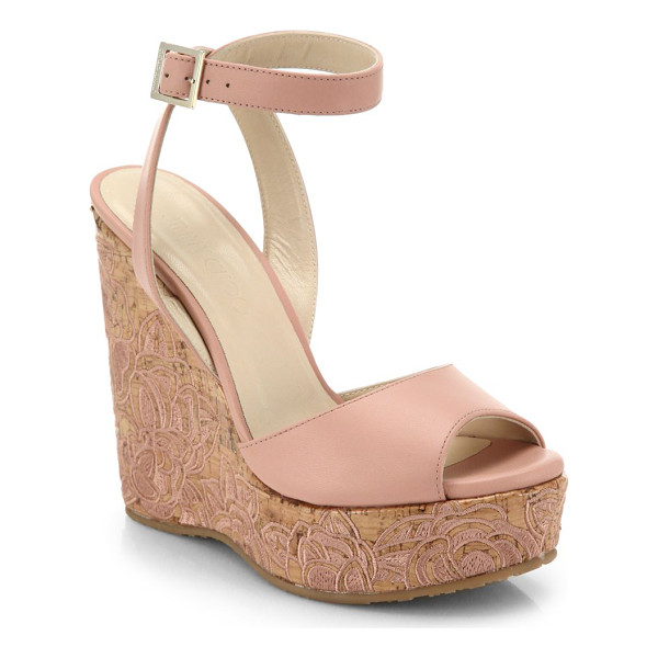 JIMMY CHOO Patara leather & embroidered cork wedge sandals - Embroidered flowers blossom upon the cork wedge that lifts...
