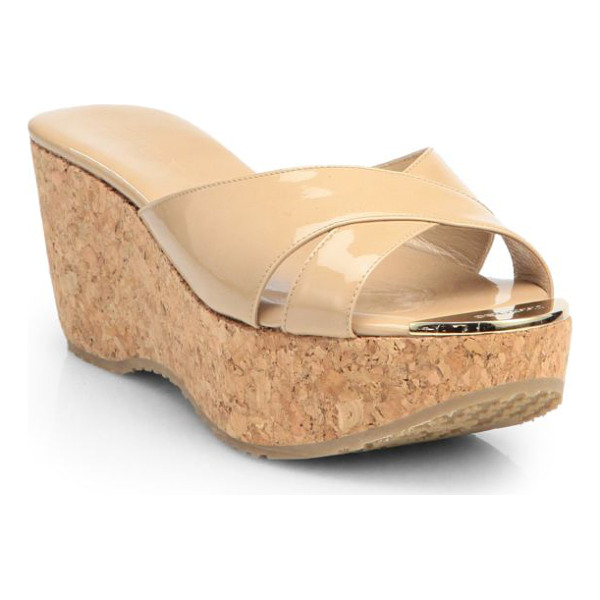 JIMMY CHOO prima patent leather cork wedge sandals - Crafted in Italy of glossy patent leather, a timeless