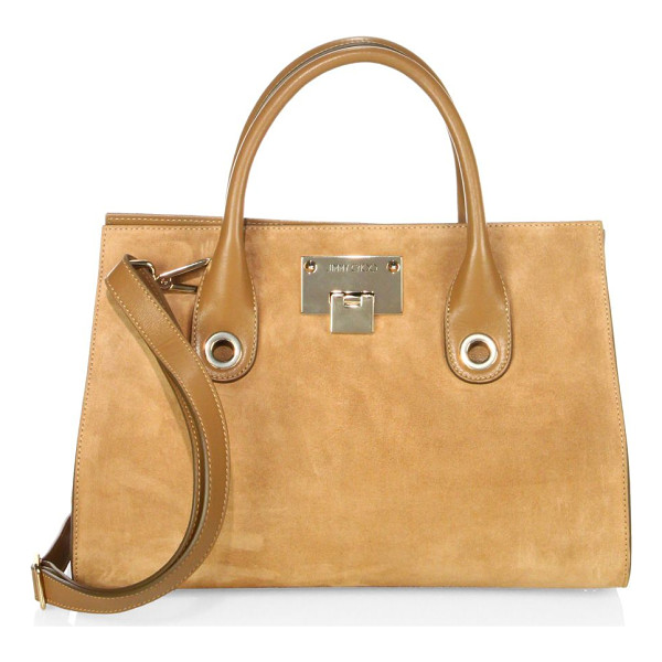 JIMMY CHOO riley suede & leather tote - Tonal suede-leather tote with spacious interior. Double top...