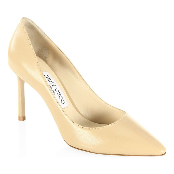 JIMMY CHOO romy 85 leather point toe pumps - Timeless point-toe silhouette in sleek leather....