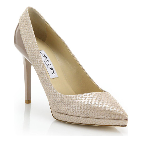 JIMMY CHOO Rudy snake-embossed leather & patent leather pumps - EXCLUSIVELY AT SAKS. A splice of patent leather and...