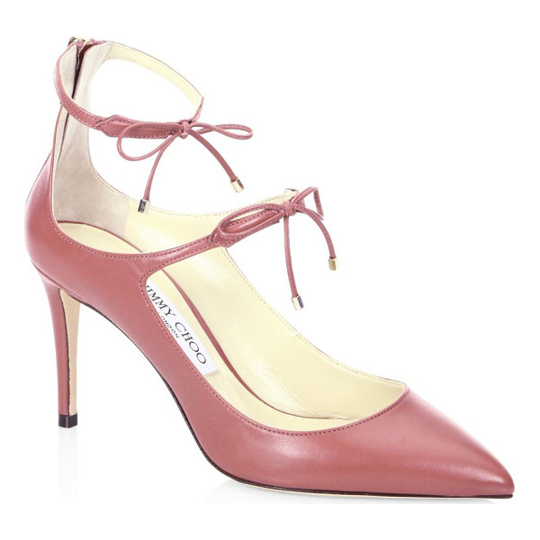 JIMMY CHOO sage 85 leather pumps - Pointed leather pump with dual self-tie ankle straps.