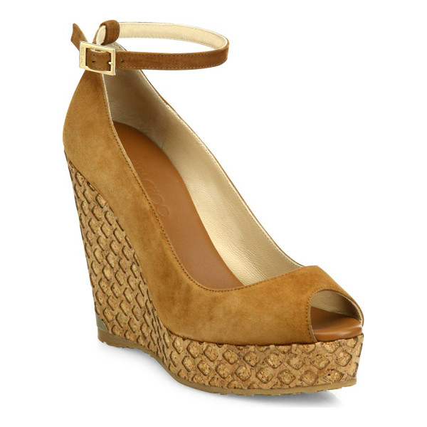 JIMMY CHOO pacific 120 suede ankle-strap cork wedge peep toe sandals - Netted cork wedge lifts suede ankle-strap sandal. Cork...