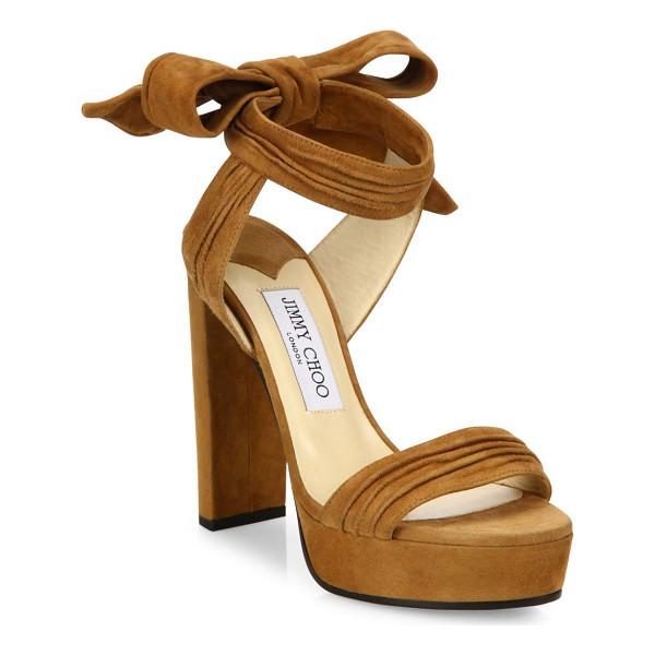 JIMMY CHOO kaytrin 120 suede ankle-tie platform sandals - Pleated suede platforms with charming back ankle tie....