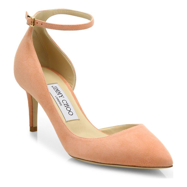 JIMMY CHOO lucy 65 suede d'orsay ankle-strap pumps - EXCLUSIVELY AT SAKS FIFTH AVENUE. Alluring suede d'Orsay...