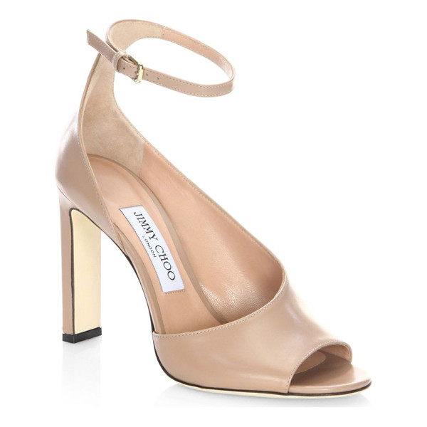 JIMMY CHOO theresa 100 leather ankle-strap sandals - Sleek sandal in asymmetrical smooth leather detail....