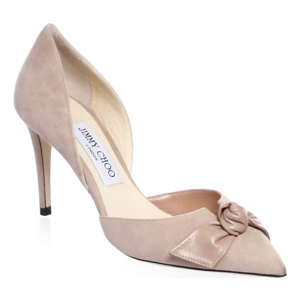 """JIMMY CHOO twinkle suede d'orsay pumps - Bow-detailedpump in a classic style. Stiletto heel, 3.34""""..."""