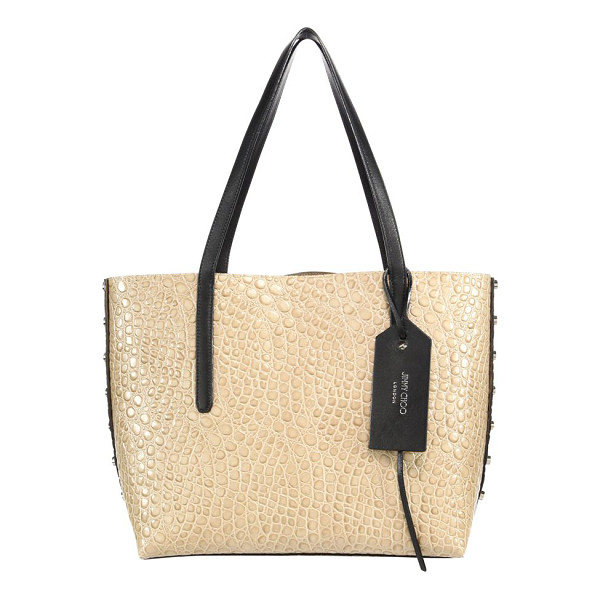 JIMMY CHOO twist east/west croc-embossed & leather tote - Studded croc-embossed tote with grainy leather side. Double