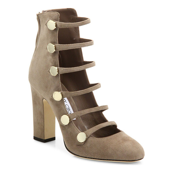 JIMMY CHOO venice 100 strappy suede block heel booties - Suede block-heel bootie with military-inspired straps.