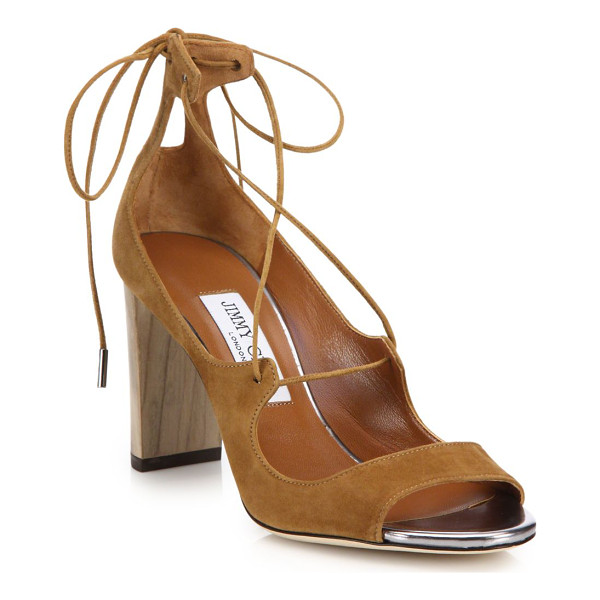 JIMMY CHOO Vernie suede lace-up sandals - On-trend lace-up suede sandal with wooden heelWooden block...