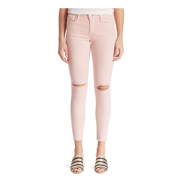 JOE'S icon skinny jeans - Ankle-length skinny jeans with cutouts at the knee. Belt...