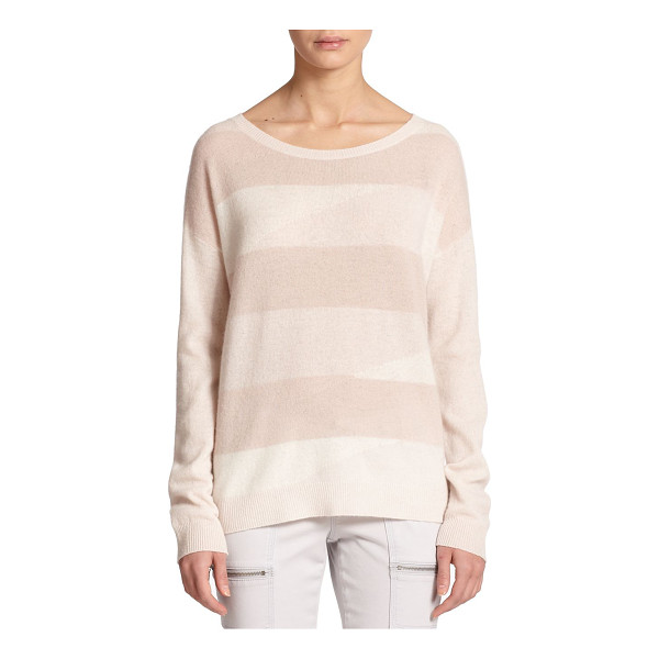 JOIE Eloisa stripe-front cashmere sweater - Monochromatic stripes lightly pattern the front of this...