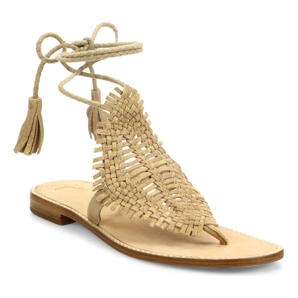 JOIE kacia huarache suede lace-up sandals - Boho-chic huarache suede sandal with braided tassel tie.