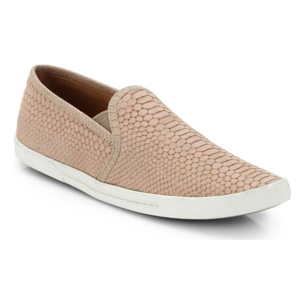 JOIE kidmore crocodile-embossed leather sneakers - A laceless sneaker takes on exotic vibes with neutral-hued...