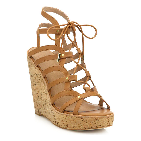JOIE larissa leather lace-up cork wedge sandals - Curvy leather lace-up style set on chunky cork wedge. Cork...