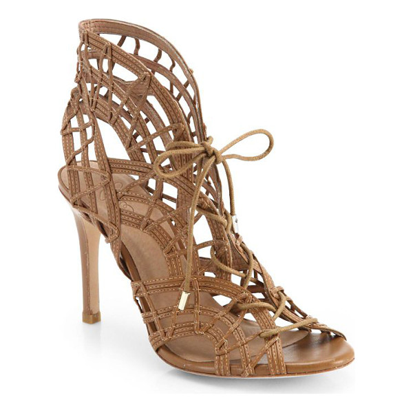 JOIE Leah lace-up cage sandals - Intricately woven leather forms a patterned cage...