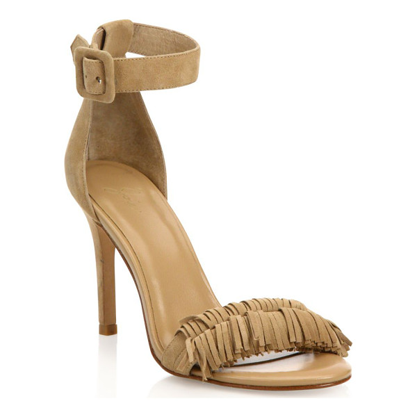 JOIE pippi fringed suede ankle-strap sandals - Fringed trim adds fun finish to suede ankle-strap sandal....