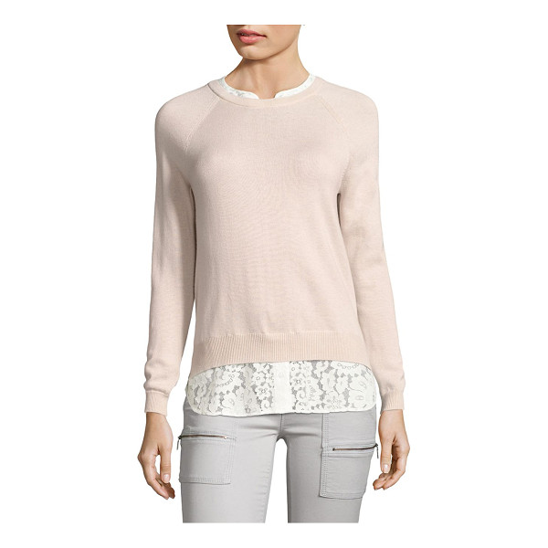 JOIE zaan k layered sweater - Wool-blend sweater finished with floral lace hem. Crewneck....