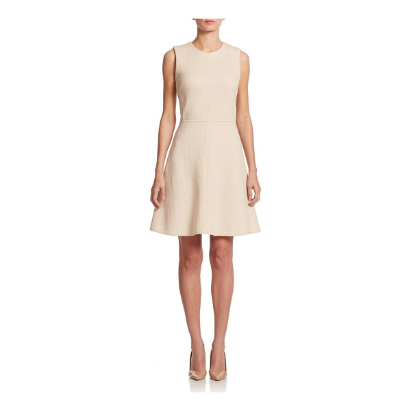 JOSIE NATORI Cotton-blend fit-&-flare dress - Crafted from a textured gauze fabric with figure-defining...