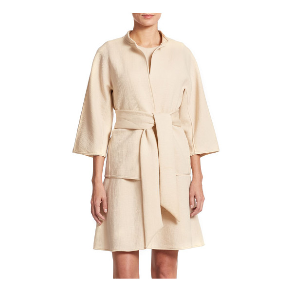 JOSIE NATORI Cropped mandarin collar jacket - A bonded knit jacket rendered in a belted, open-front...