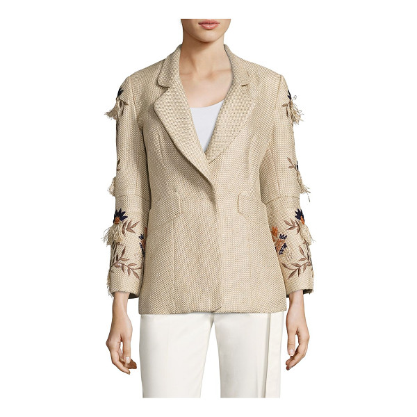 JOSIE NATORI multicolor embroidered jacket - Multicolored embroidery uplifts this textured jacket. Notch...