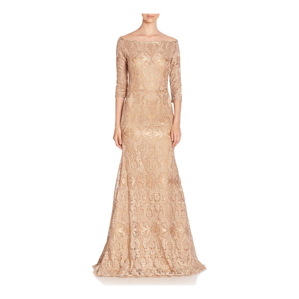 JOVANI fit-&-flare embroidered gown - Beautifully embroidered design in flattering shape. Bardot...