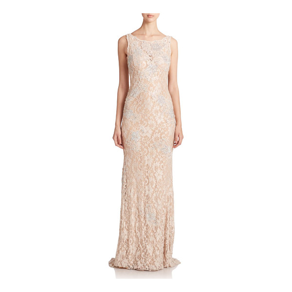 JOVANI sequined lace gown - Sequined lace construction delivers vintage glamour to this...