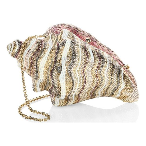 JUDITH LEIBER COUTURE conch shell crystal clutch - Conch shell-shaped clutch with striped crystals. Removable...