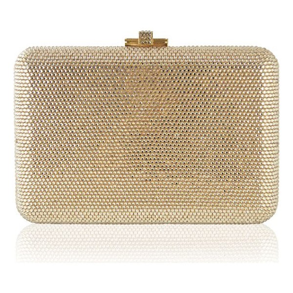 JUDITH LEIBER slim slide fullbead clutch - Ultra-glam hinged clutch encrusted with crystals. Removable...