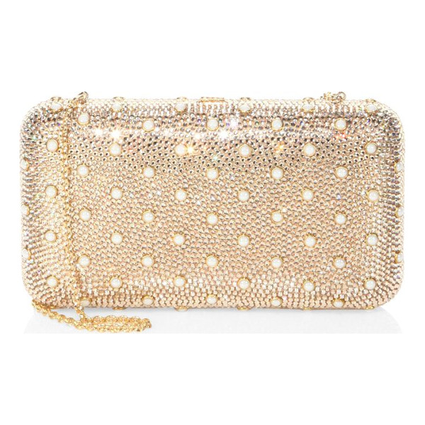 JUDITH LEIBER smooth rectangle studded crystal clutch - Crystal-encrusted rectangle clutch with pearly studs.