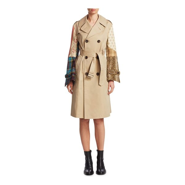 JUNYA WATANABE cotton patchwork trench coat - Cotton trench coat with colorful patchwork sleeves. Notched...