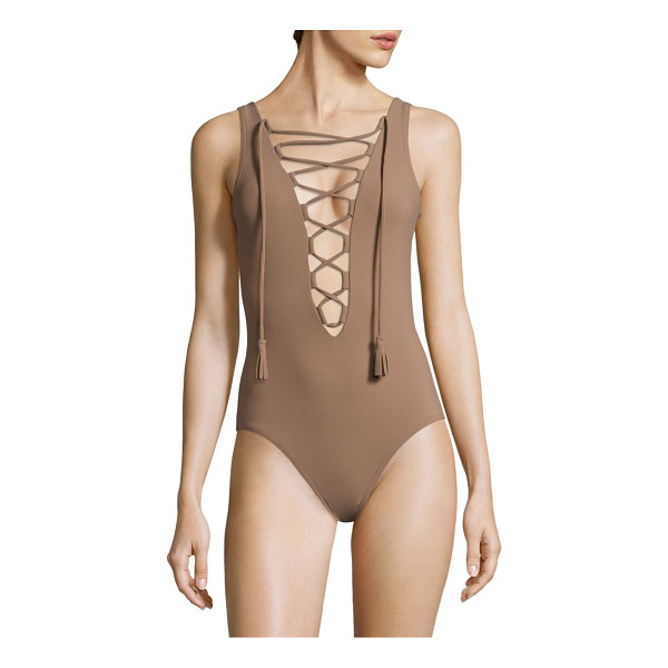KARLA COLLETTO one-piece entwined lace-up swimsuit - Sultry lace-up swimsuit with plunging back detail. Lace-up...