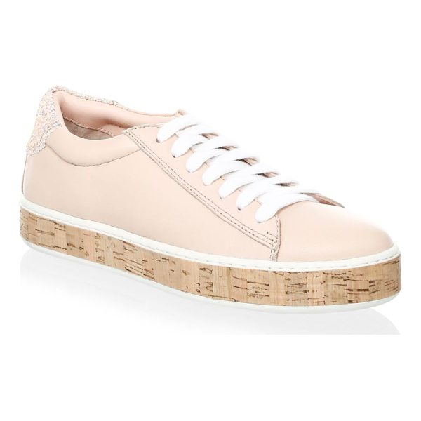 KATE SPADE NEW YORK amy leather platform sneakers - Leather sneakers with sparkling embellishments on back....