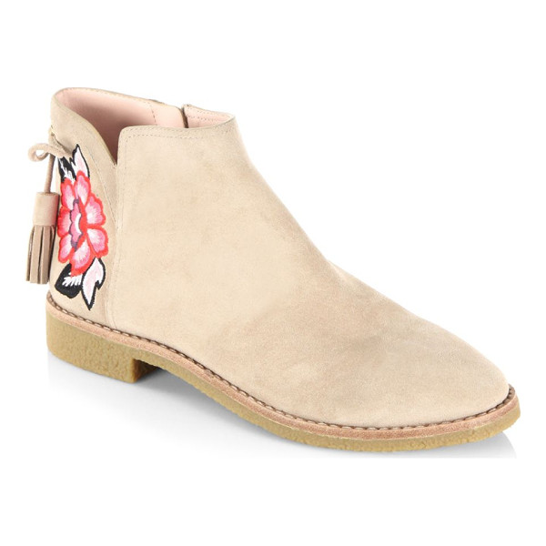 KATE SPADE NEW YORK embroidered suede boots - Suede boots with fringe lace and rose applique. Round toe....