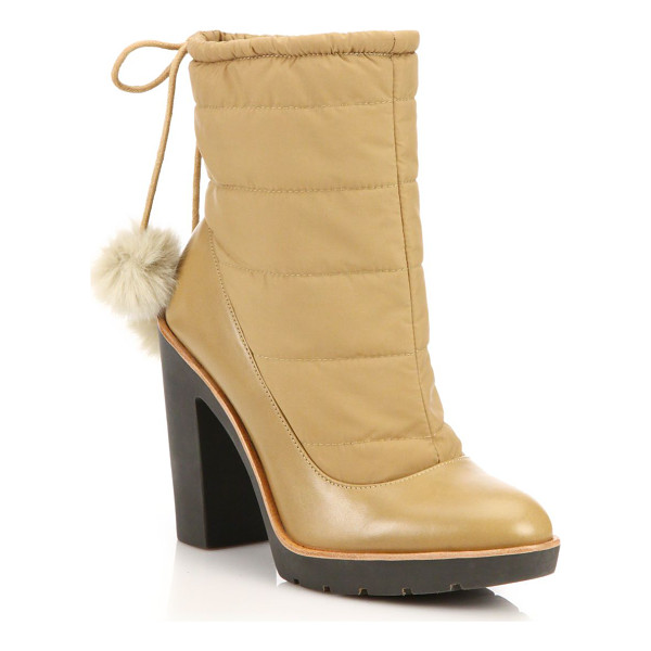 KATE SPADE NEW YORK Ginnie faux-fur pom-pom booties - A work boot-inspired silhouette is lend a dose of feminine...