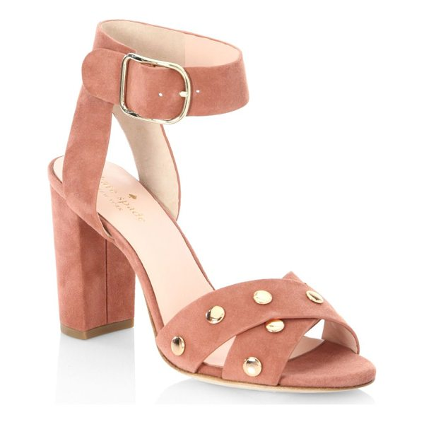 """KATE SPADE NEW YORK oakwood cumin sandals - Sandals accented with nailhead trim. Stacked heel, 3.5""""..."""