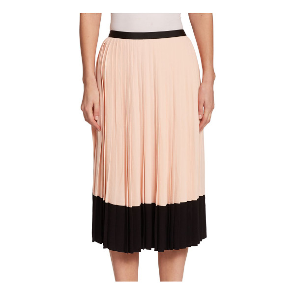 KATE SPADE NEW YORK Pleated crepe skirt - Crisp accordian pleats and a colorblock hem add dimension...