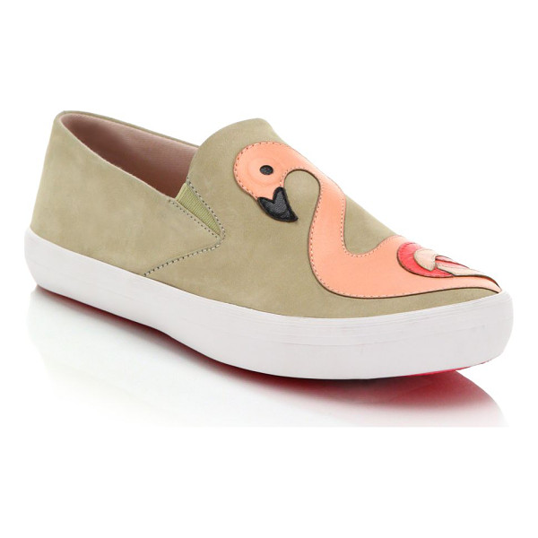KATE SPADE NEW YORK Selma flamingo-paneled leather slip-on sneakers - An artful flamingo paneled motif splashes these cool...
