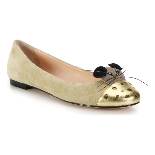 KATE SPADE NEW YORK Walk metallic leather-paneled mouse suede flats - Metallic leather, beads and suede paneling form an elevated...