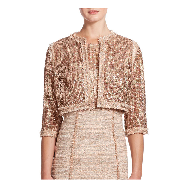 KAY UNGER Embellished tweed-trim jacket - Spangled with gleaming sequins, this cropped-style topped...