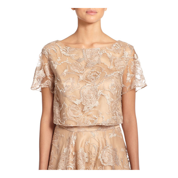 KAY UNGER Embroidered tulle cropped top - Roses blossom in embroidery upon this tulle illusion...