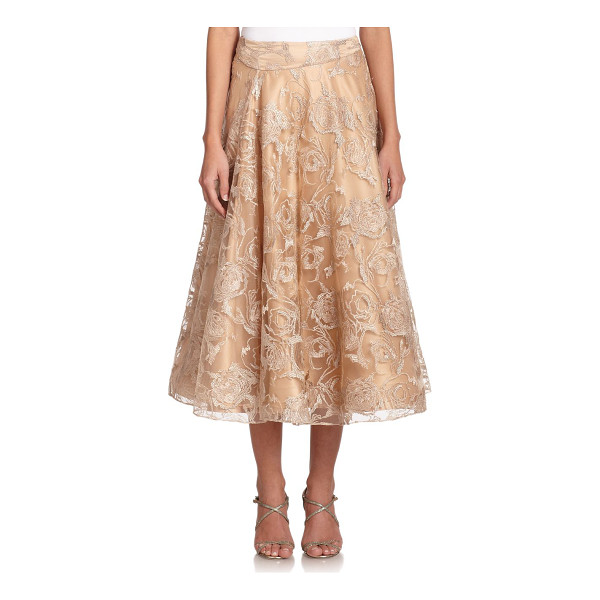 KAY UNGER Embroidered tulle full skirt - Metallic floral embroidery accentuates the feminine appeal...