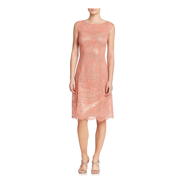 KAY UNGER Lace shimmer a-line dress - A shimmering underlay peeks through the embroidered lace of...