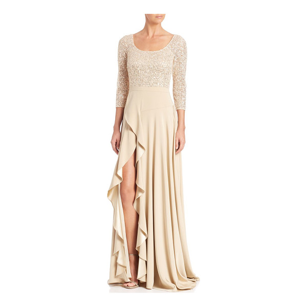 KAY UNGER sequined lace gown - Sequined lace thigh-slit gown with cascading ruffles. Scoop...