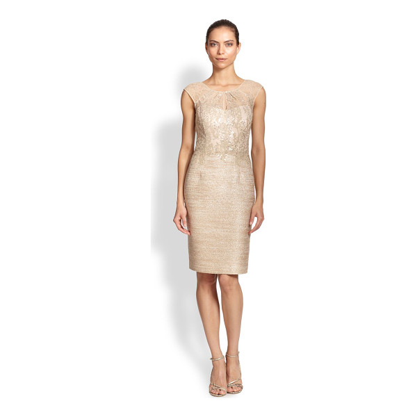 KAY UNGER Tweed combo sheath dress - A delicate lace illusion bodice transforms this tailored...